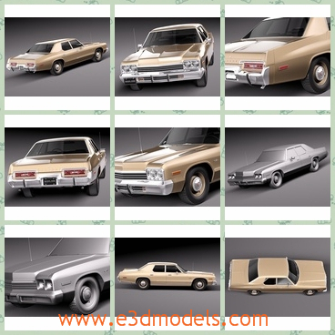 3d model of the Dodge Monaco - This 3d model is about a Dodge Monaco car which has a long and wide body. The car has an oblong shape with a flat and even top.