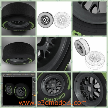 3d model of the intermediate Formula 1 tyre - This 3d model is the intermediate tyre of the Formula 1.The model is completely ready for use visualization in maya. For low poly model simply press 1 and for the high resolution press 3.
