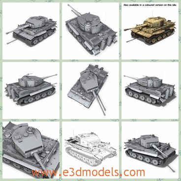 3d model of tiger - This 3d model is about a German heavy tank used in World War II,  which is developed in 1942. This is a big panzer tank with two thick tracks and a big mortar.