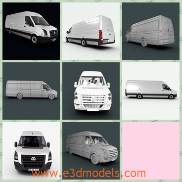 3d model of VW Crafter - This 3d model is about an extra long and extra high version of VW Crafter. This car is white and it has a bulging head.