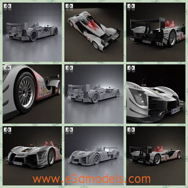 3d model racing car of Audi - This is a 3d model of the racing car of Audi,which is modern and was made in 2010 and it was made in Germany.