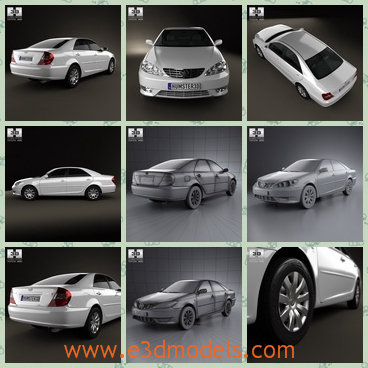 3d model saloon car of Toyota - This is a 3d model of the saloon car of Toyota,which is white and cute.The car was made in 2004 and the it was produced in Japan.