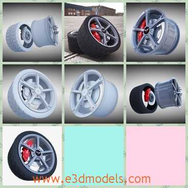 3d model sport wheel - This is a 33d modelo f the wheel with tire,which is black and large.The model is on the objects and not collapsed, so you can increase or decrease smooth iterations.