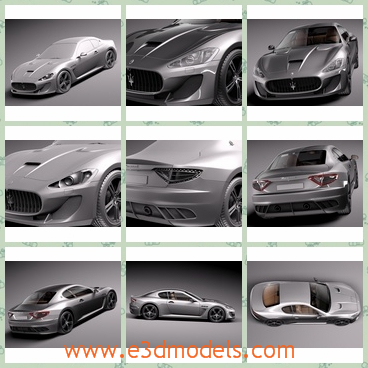 3d model sports car - This is a 3d model of the sports car,which is in a Italian style and the has two seats interior.