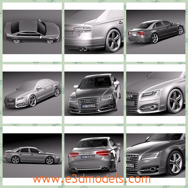 3d model the Audi s8 in 2014 - This is a 3d model of the Audi S8 in 2014,which is modern and luxury.The car is the German type.