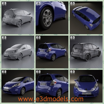 3d model the blue car of Japan - This is a 3d model of the blue car of Japan,which was made in 2013 and the car is popular amongst the young people.