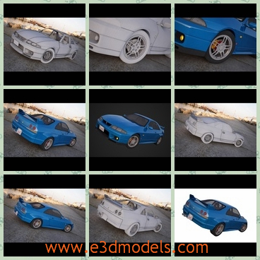 3d model the blue Nissan car - THis is a 3d model about the blue Nissan car,which is the famous car in Japan and it is also famous in the world.