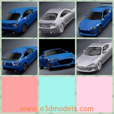 3d model the blue Subaru - THis is a 3d model of the blue Subaru,which is a kind of modern and fast sports car.The model is created with low body and four doors.