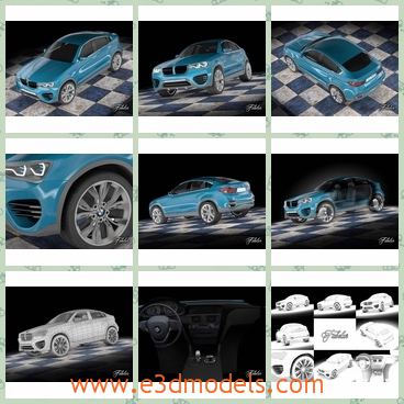 3d model the car in blue - This is a 3dmodel of the car in blue,which is modern and with detailed textures.The car has been modeled on real reference pictures.Wheels, body, grids, logos, cameras, lights etc are grouped for an easy management of the scene.