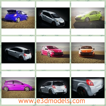 3d model the car in different colors - This is a 3d model of the car in different colors,which stopped on the field.The model is created by French creator in 2009.