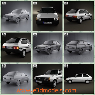 3d model the car made in Ukraine - This is a 3d model of the car made in Ukraine,which is made in 1990 and the body of the car is outdated and the color is not charming.