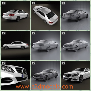 3d model the car of Benz in 2014 - THis is a 3d model of the car in 2014,which is the product of Benz.The model has four doors and it was made in Germany.