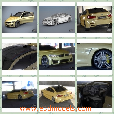 3d model the car of BMW M4 - This is a 3d model of the car of BMW M4,which is the new sports car made in Germany.The car is in yellow and it is obvious among others.