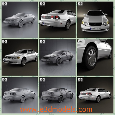 3d model the car of Lexus in 1996 - This is a 3d model of the car of Lexus in 1996,which is the sedan car and the car has 4 doors and it is luxury and it was produced in Japan.