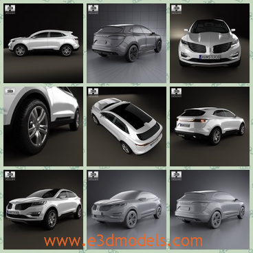 3d model the car of Lincoln in 2013 - This is a 3d model of the car of Lincoln in 2013,which is the SUV and it is luxury.The model is created accurately, in real units of measurement.