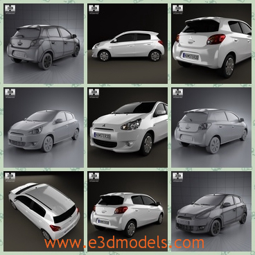 3d model the car with a big hatchback - This is a 3d model of a car made in Japan,which is made in 2013 and the type is popular in European countries.