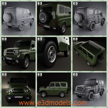 3d model the crossover of Russia - This is a 3d model of the crossover of Russia,which is painted in green and the body is big and spacious.
