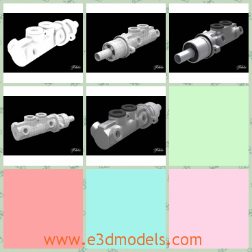 3d model the cylinder - This is a 3d model of the cylinder,which is heavy and made of steel materials.The model is a part of the car.