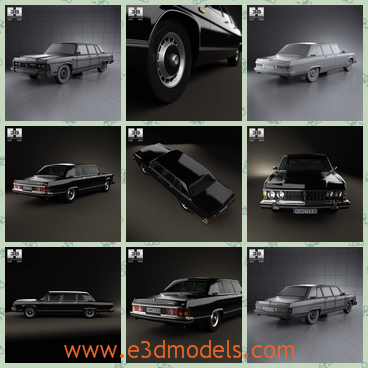 3d model the Gaz car in black - This is a 3d model of the Gaz car in black,which is long and luxury.The sedan is popular in Russia and it was welcomed by most people at that time.