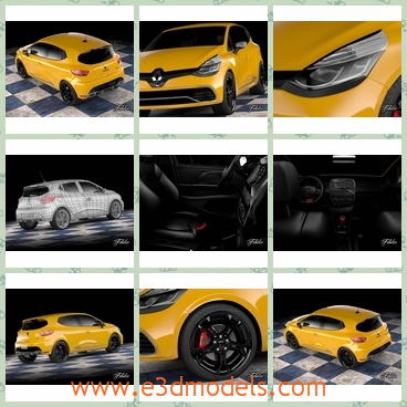3d model the hatchback in 2013 - This is a 3d model of the hatchback in 2013,which is yellow and special..All Materials and 4096x4096 textures included diffuse, specular, bump, opacity, displacement