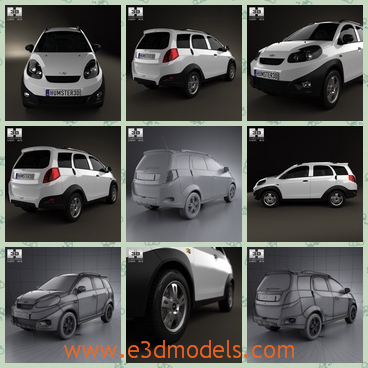3d model the hatchback of Chery - THis is a 3d model of the hatchback of Chery,which is large and cool.The car is provided combined, all main parts are presented as separate parts therefore materials of objects are easy to be modified or removed.