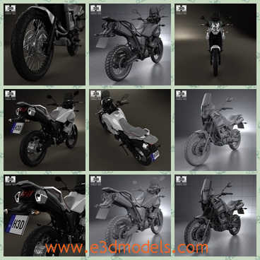 3d model the motorcycle in 2012 - This is a 3d model of the motorcycle in 2012,which is modern and made in Japan,which is black and all main parts are presented as separate parts therefore materials of objects are easy to be modified or removed.