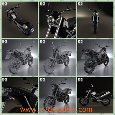 3d model the motorcycle of BMW - This is a 3d model of the motorcycle of BMW,which is large and the model is black and is popular.