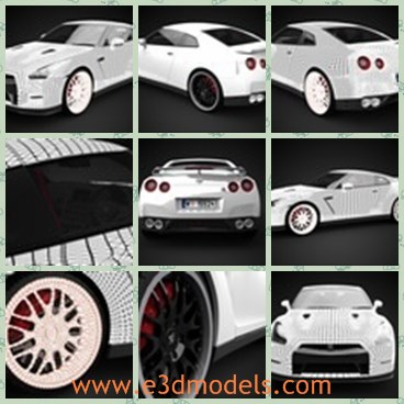 3d model the Nissan car - This is a 3d model of the Nissan car,which  is a high quality 3D model of 2012 Nissan GT-R R35. Geometry is polygonal, and number of polygons is close to 300 000, so this is a high quality 3D model.