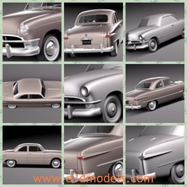3d model the old car - This is a 3d model of the old and antique car,which is made in 1950 and popular at that time.