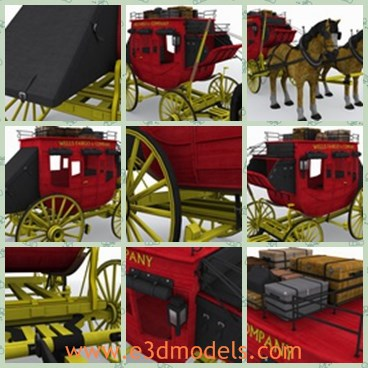 3d model the old coach - This is a 3d model of the old coach,which consists of a horse,and stage and two wheels.The model has big luggages on it.