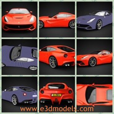 3d model the orange sports car - This is a 3d model of the orange sports car,which is the famous Italian brand in the world.