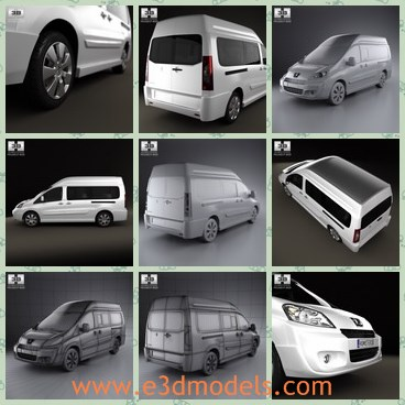 3d model the peugeot car - This is a 3d model of the peugeot car,which is modern and spacious.The model is created accurately, in real units of measurement, qualitatively and maximally close to the original.