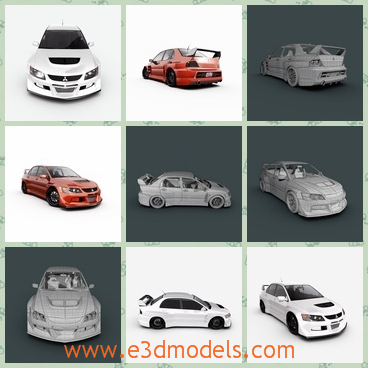 3d model the racing car - This is a 3d model of the evolution of the racing car,which is fast and modern.The model includes custom font bumper, rear bumper, quarter panels and sideskirts.