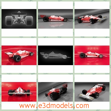 3d model the racing car in the track - This is a 3d model of the racing car in the track,which is red and it is made according to the real car blueprints and photos, it's made with care and maximally close to the original.