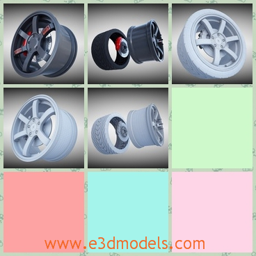 3d model the racing wheel made in steel - This is a 3d model of the racing wheel made in steel,which is the sport wheel of the racing cars and the materials that made the car is special and stable.
