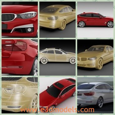 3d model the red BMW - This is a 3d model of the red BMW,which is modern and detailed.The car is popular in Germany and other countries in the world.