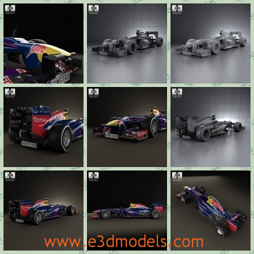 3d model the red bull racing car - This is a 3d model about the red bull racing car,which is the Japanese car made in 2013.The car is made for the racing.