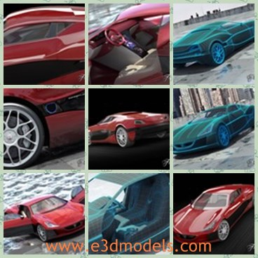 3d model the red sports car - This is a 3d model of the red sports car,which  is modern elegant.The company's primary objective was to build an electric supercar, starting, as Rimac put it, 'with a blank sheet of paper'.
