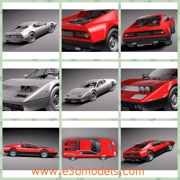 3d model the red sports car in 1973 - This is a 3d model of the red sports car in 1973,which was very popular at that time and the body is special and cool.