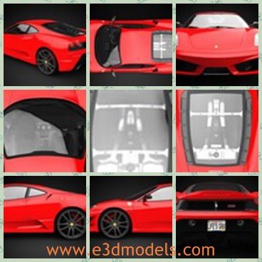 3d model the red sports car in Italy - This is a 3d model of the red sports car in Italy,which is a high quality 3D model of 2008 430 Scuderia. Geometry is polygonal, and number of polygons is about 300 000, so this is a high quality 3D model