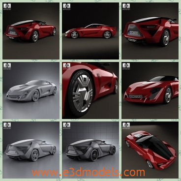 3d model the red supercar - This is a 3d model of the red supercar,which is made in 2009 and the type is charming and outstanding at first sight.