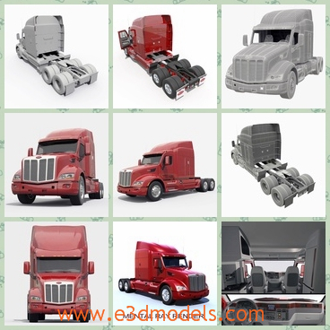 3d model the red truck with a heavy head - This is a 3d model of the red truck with a heavy head,which is heavy and large.The model is spacious and outstanding.