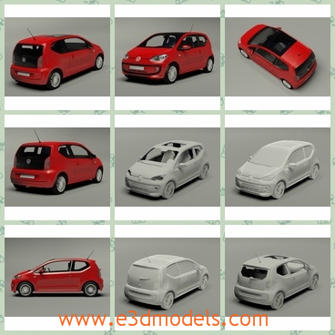 3d model the red volkswagen - This is a 3d model of the red Volkswagen,which is the city car and has a hatchback with it.The model is made in Germany.