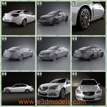 3d model the sedan with four doors - This is a 3d model of the sedan with four doors,which is provided combined, all main parts are presented as separate parts therefore materials of objects are easy to be modified or removed and standard parts are easy to be replaced
