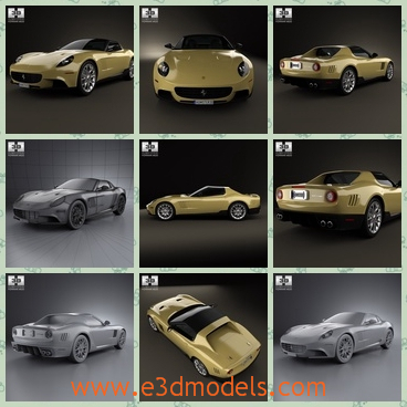 3d model the sports car in 2010 - This is a 3d model of the sports car in 2010,which is light yellow and the coupe was famous in Italy in 2010 and the it is convertible.