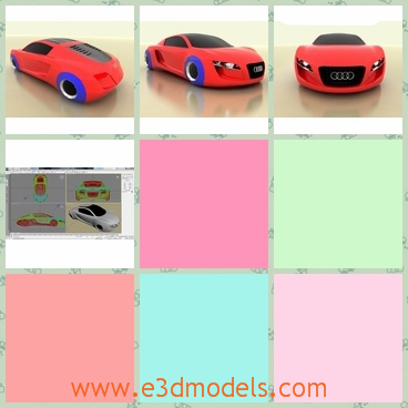 3d model the sports car in red - This is a 3d model of the sports car,which has the blue wheels.The model is small and the body is so cute.