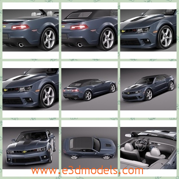 3d model the sports car of Chevrolet - This is a 3d model of the sports car of Chevrolet,which is black and the internal arrangements are fine and pretty.