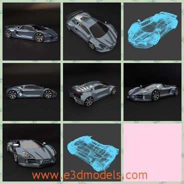 3d model the sports car with four wheels - This is a 3d model of the sports car,which is created by special materilas.The car is a supercar and the speed is fast.