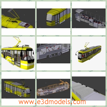 3d model the streetcar in yellow - This is a 3d model of the streetcar in yellow,which is spacious and popular in the world.The tram is safe and steady.
