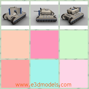 3d model the tank in gray - This is a 3d model of the tank in gray,which is a kind of the vehical in military.The model is converted in the most popular formats.